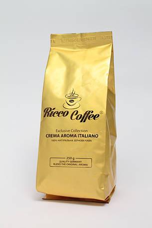 Кофе в зернах Ricco Coffee Crema Aroma Italiano  80% Арабика и 20% Робуста  250 г, фото 2
