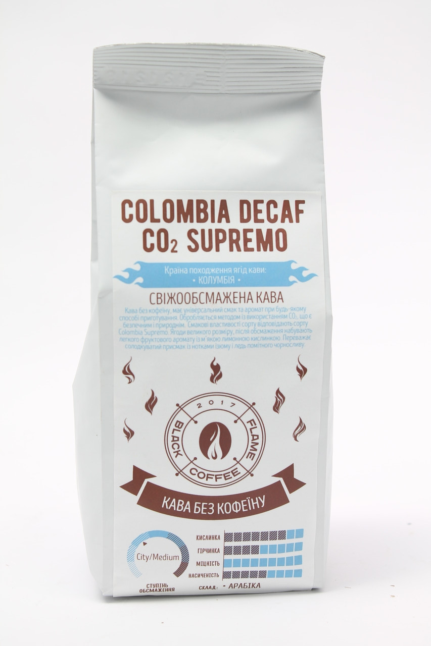 Кофе в зернах  Black Coffee Flame Colombia Decaf Supremo 100% Арабика 250 гр