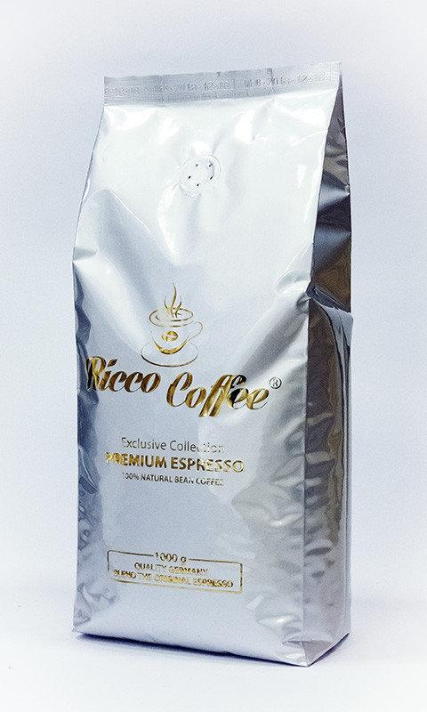 Кофе в зернах Ricco Coffee 100% Premium espresso 20% арабики, 80% робусты 1 кг