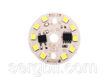 Светодиодный модуль для LED ламп 5Вт 6500K 450лм 220В диаметр 30мм