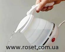 Дорожній чайник силіконовий складаний дисковий Eltctric Kettle wdl-09b (220v, 800w, 600мл, білий)