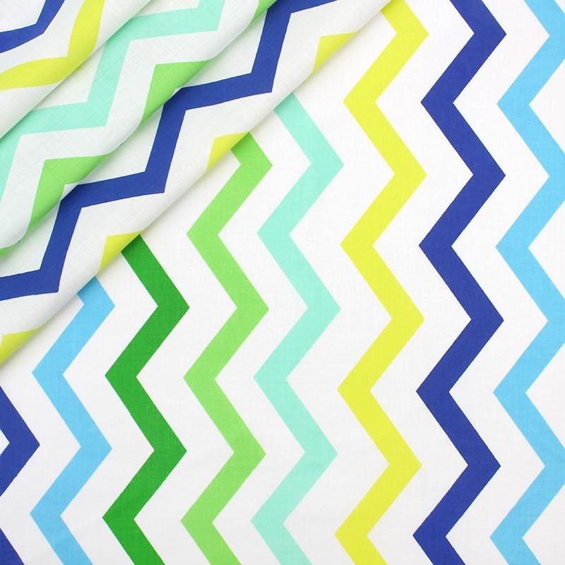 Хлопковая ткань Зигзаги зелено-голубых оттенков