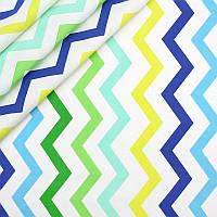 Хлопковая ткань Зигзаги зелено-голубых оттенков, фото 1