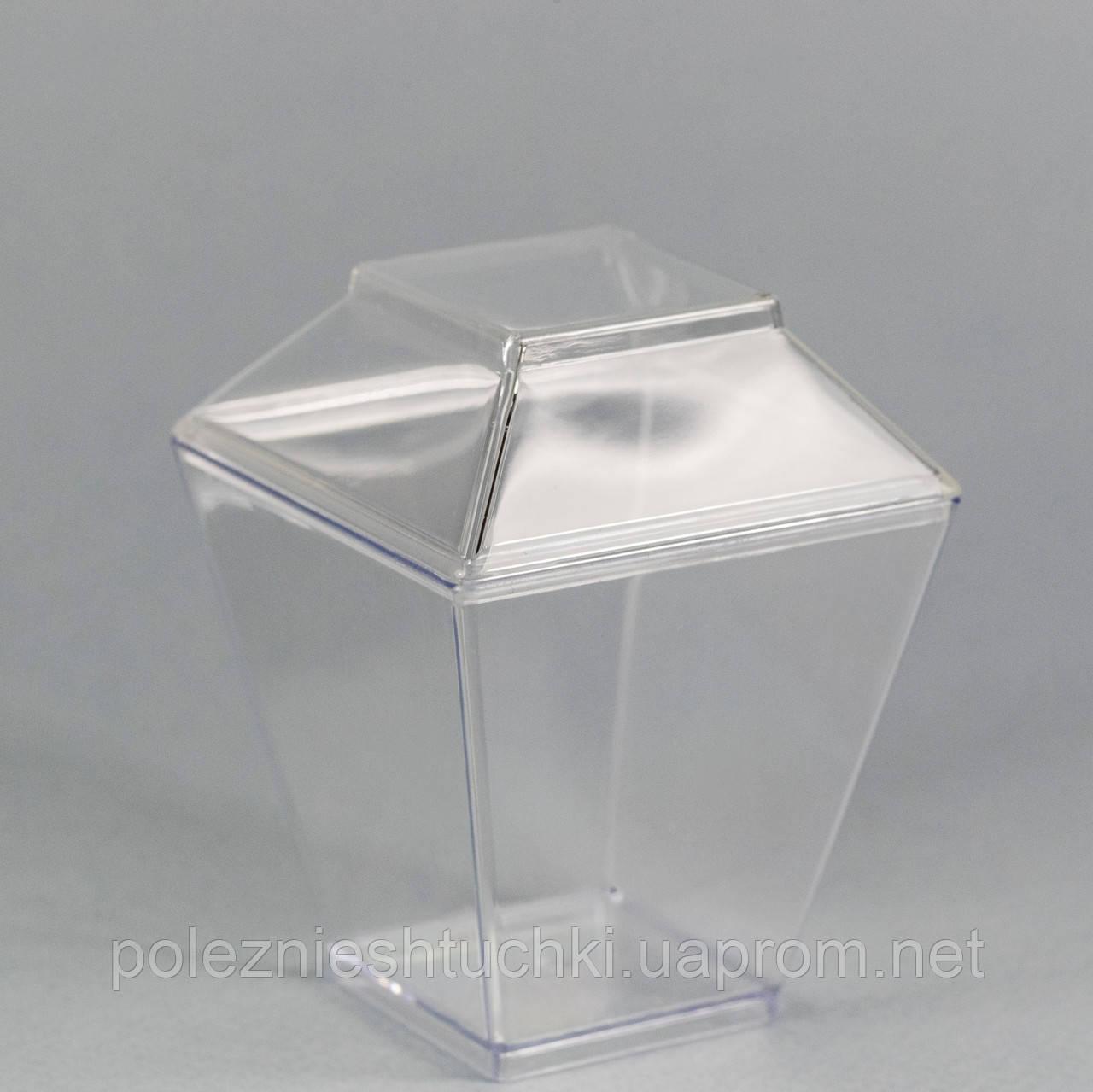 "Пиала с крышкой фуршетная круглая 120 мл., 6,2х6,2х8 см., 50 шт/уп стеклоподобный, прозрачная ""Пирам"