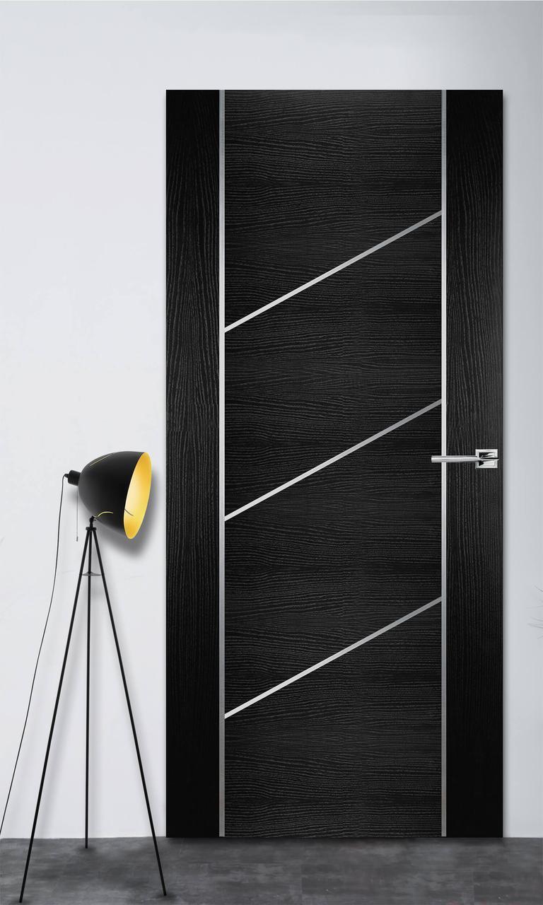Межкомнатная дверь Флэш 12 черный ясень ПГ (скрытого монтажа)