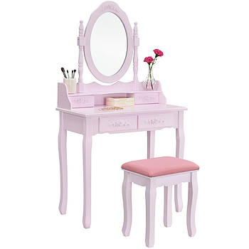 Туалетний столик Ванеса рожевий Трюмо з дзеркалом в спальню