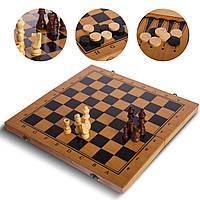 Шахи, шашки, нарди 3 в 1 бамбукові (39х39см) B-3140