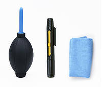 Набор для чистки оптики 3в1: груша карандаш фибра