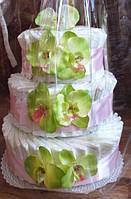 """Торт из подгузников (памперсов) """"Орхидея салатовая"""""""