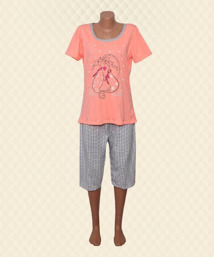 Піжама жіноча Два кота футболка + бриджі кулір