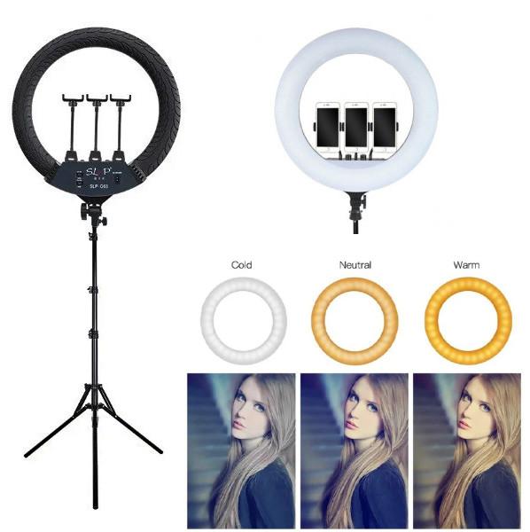 Кольцевая LED лампа 55 см + Штатив, пульт, чехол, 3 держателя для смартфона (Ring Light SLP-G63) набор блогера