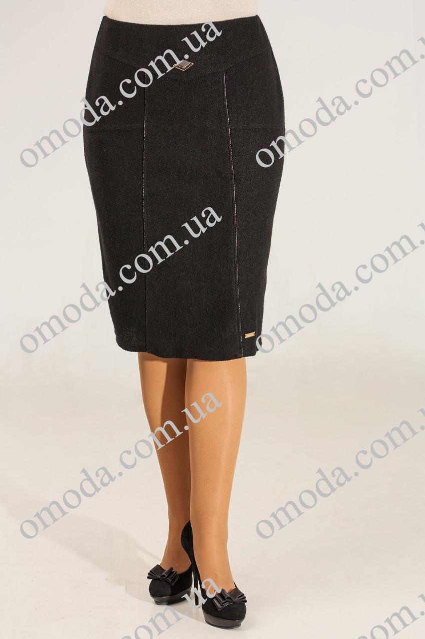 Женская юбка Сандра теплая черная 48 размер