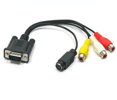Кабель переходник VGA на S-Video 3 RCA