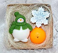 """Новогодний набор мыла ручной работы """"Снеговик, снежинка, мандарин"""""""