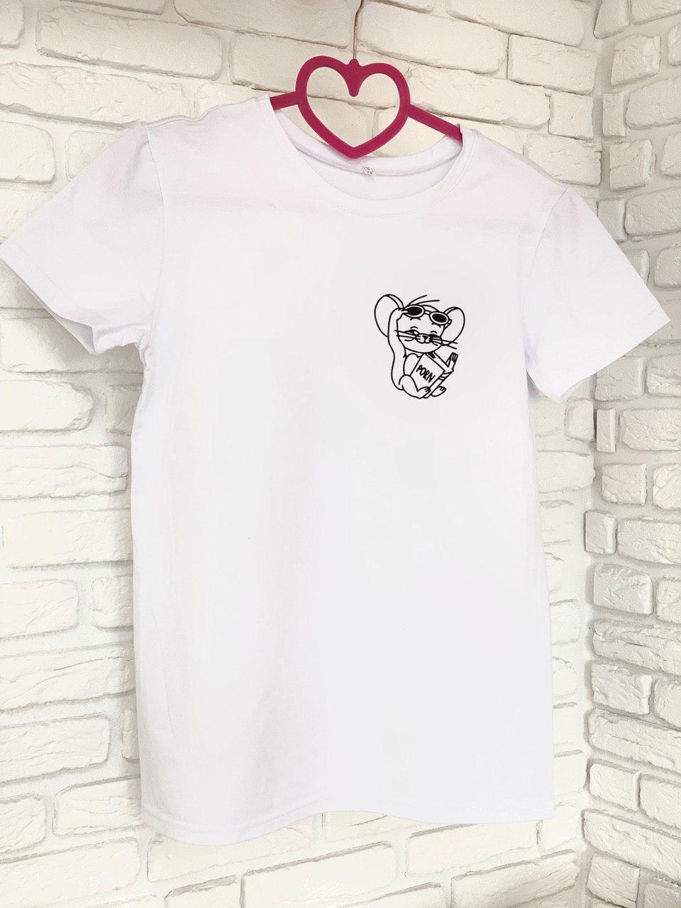 Женская футболка хлопок белая с принтом Jerry джерри мышка Mouse SKL59-259639