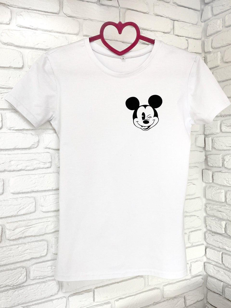 Женская футболка хлопок белая с принтом Mickey Mouse микки маус SKL59-259643