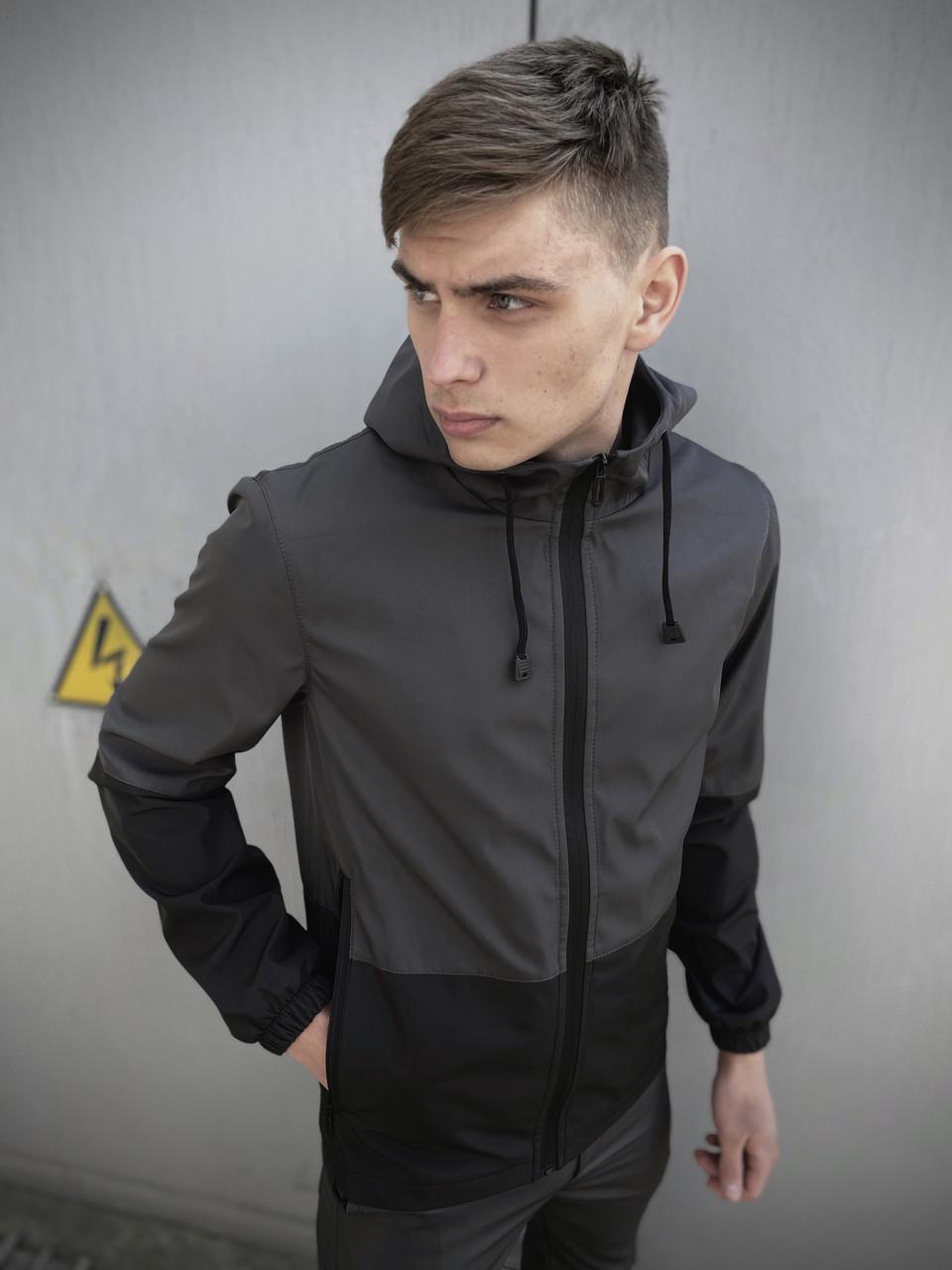 Мужская весенняя куртка серо-черная SoftShell Light SKL59-259496