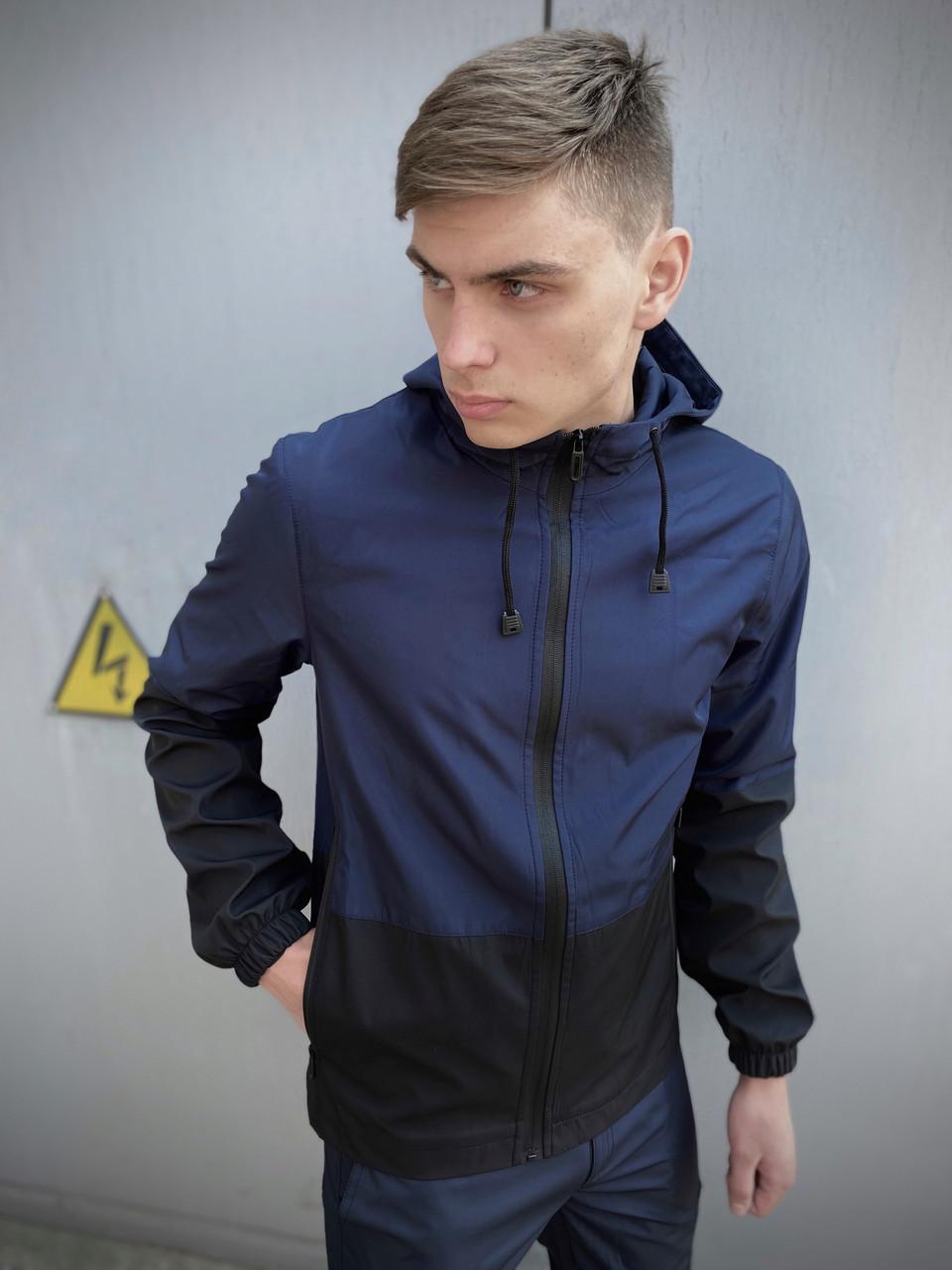 Мужская весенняя куртка сине-черная SoftShell Light SKL59-259493