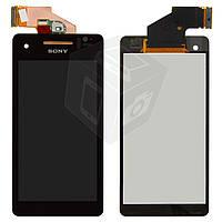 Дисплейный модуль (дисплей + сенсор) для Sony Xperia V LT25i, черный, оригинал
