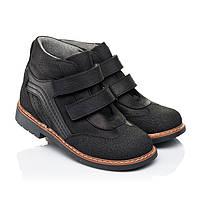 Деми ботинки на мальчика,кожаные,черные,на липучках.Турция.Woopy 7110/р24-36