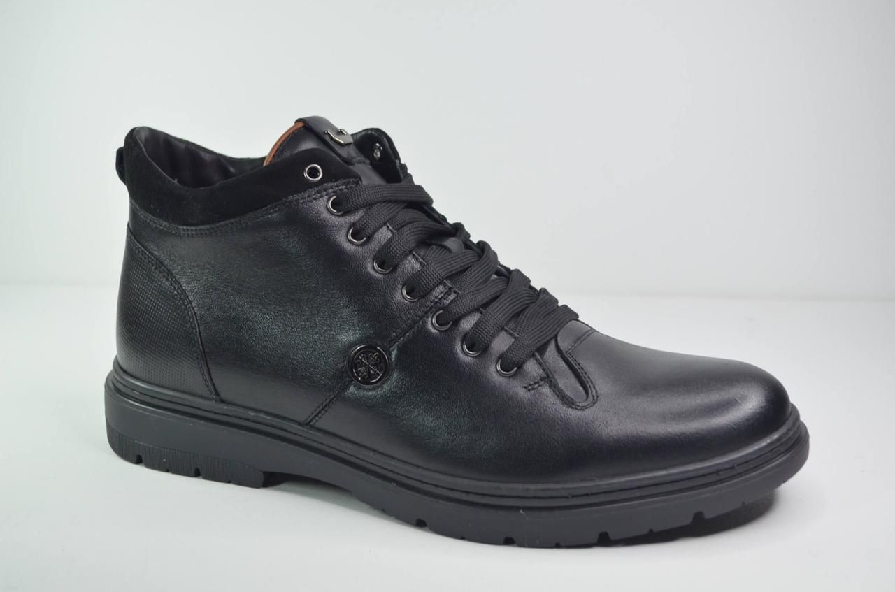Мужские зимние кожаные ботинки черные KaDar 3210624