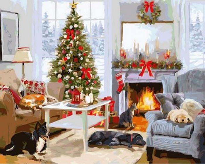 Картина по номерам Babylon Рождественское утро у камина 40*50 см (в коробке) арт.VP998