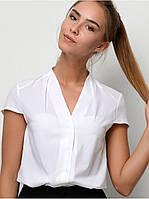 Белая женская Блуза - рубашка с коротким рукавом