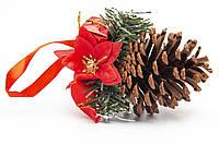 Елочное украшение - шишка с красной ленточкой, 10 см (930180)