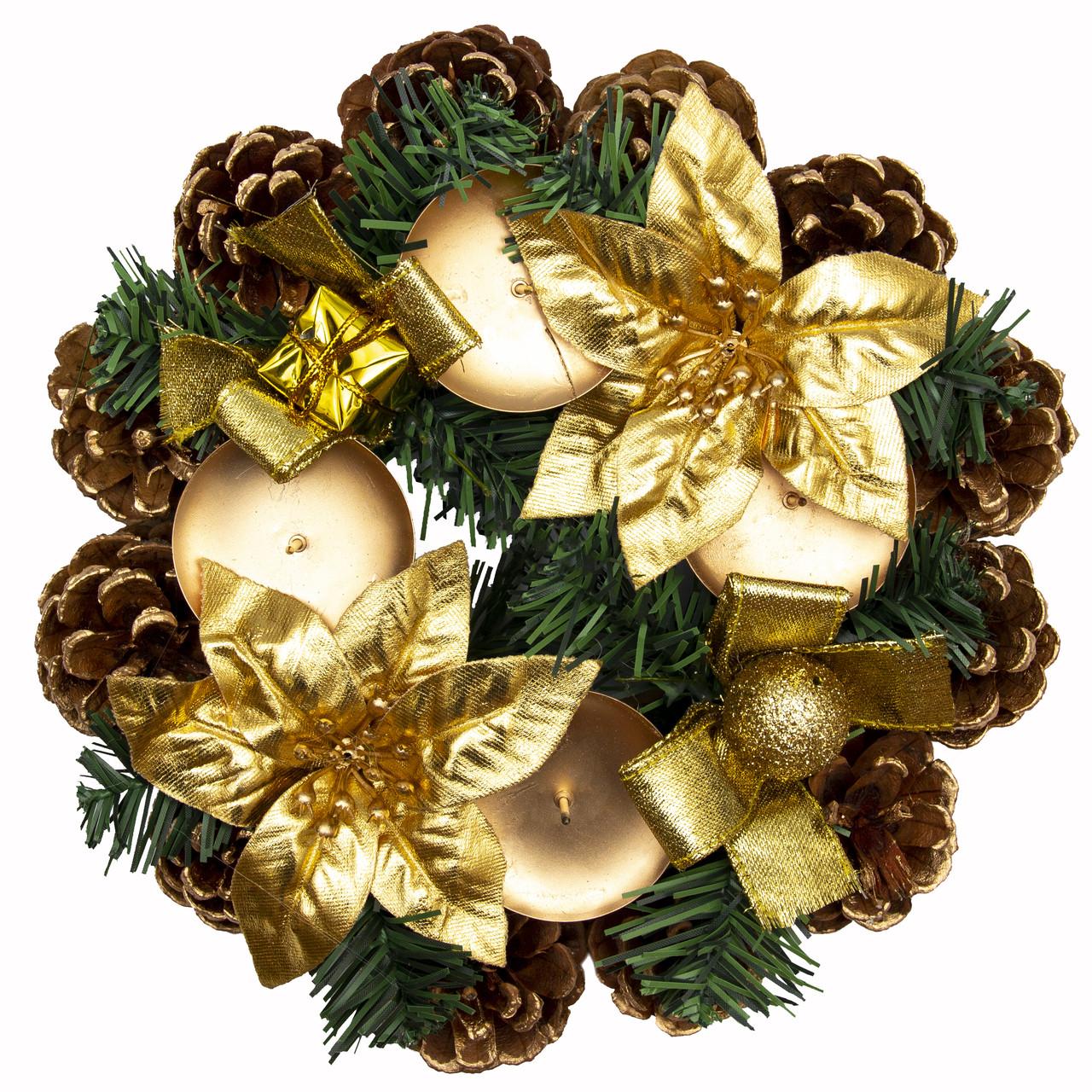 Подсвечник - Венок с цветами и декором, 23 см, золотистый (930142)