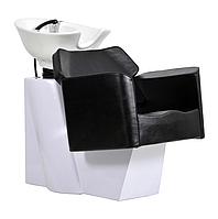 Парикмахерская мойка 307 с белой станиной и черным креслом