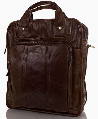 Оригинальная сумка-рюкзак мужская из натуральной кожи ETERNO (ЭТЕРНО) ET1013 темно коричневый