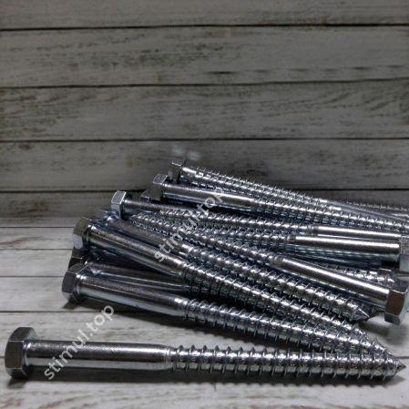 Шуруп для лаг и реек 6 х 120 (200 шт/уп) / Шуруп глухарь DIN 571 / Саморез под ключ для балок