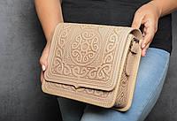 Кожаная женская сумка, бежевая сумка, сумка через плечо, фото 1