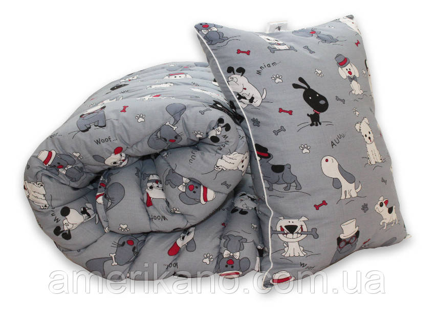 "Комплект Одеяло лебяжий пух ""Dogs"" 1.5-сп. + 1 подушка 50х70"