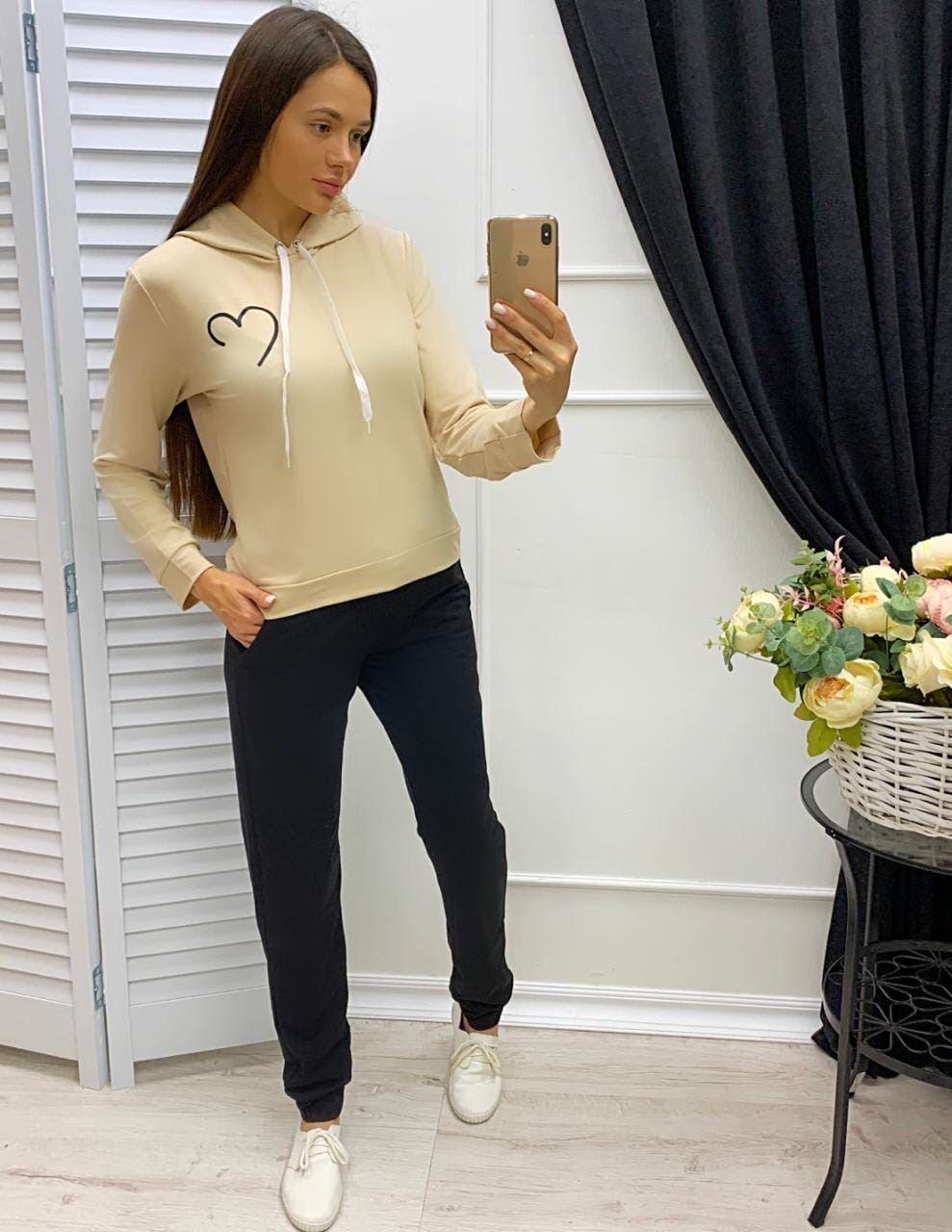 Жіночий спортивний костюм двійка штани і кофта з серцем