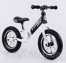 """Детский велобег (беговел) CORSO 10234    надувные колёса 12"""",  cтальная рама  Черно-белый"""
