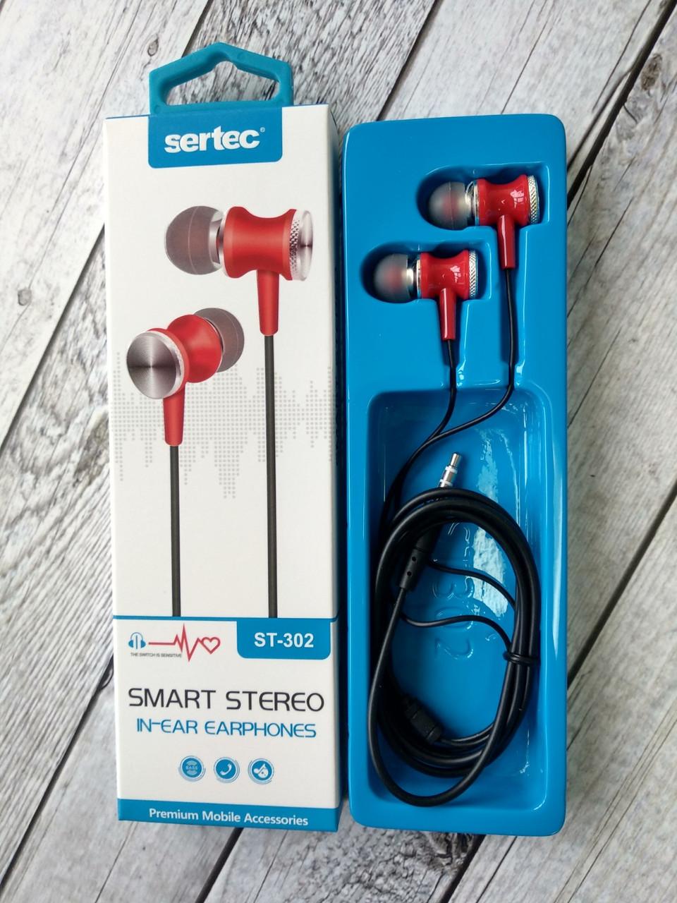Навушники провідні 3.5mm Sertec ST-302 Black / red (круглий шнур)
