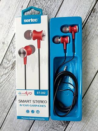 Навушники провідні 3.5mm Sertec ST-302 Black / red (круглий шнур), фото 2