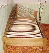 """Угловая кровать """"Радуга"""" (200*90), """"левая"""" с кованным элементом, массив дерева - дуб, покрытие - """"лесной орех"""" (№ 44) 3"""
