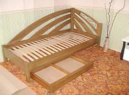 """Угловая кровать """"Радуга"""" (200*90), """"левая"""" с кованным элементом, массив дерева - дуб, покрытие - """"лесной орех"""" (№ 44) 4"""