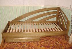 """Угловая кровать """"Радуга"""" (200*90), """"левая"""" с кованным элементом, массив дерева - дуб, покрытие - """"лесной орех"""" (№ 44) 5"""