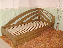 """Угловая кровать """"Радуга"""" (200*90), """"левая"""" с кованным элементом, массив дерева - дуб, покрытие - """"лесной орех"""" (№ 44) 6"""