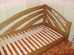"""Угловая кровать """"Радуга"""" (200*90), """"левая"""" с кованным элементом, массив дерева - дуб, покрытие - """"лесной орех"""" (№ 44) 7"""