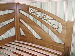 """Угловая кровать """"Радуга"""" (200*90), """"левая"""" с кованным элементом, массив дерева - дуб, покрытие - """"лесной орех"""" (№ 44) 2"""