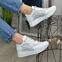 Кроссовки кожаные женские белые на шнуровке. 36 размер