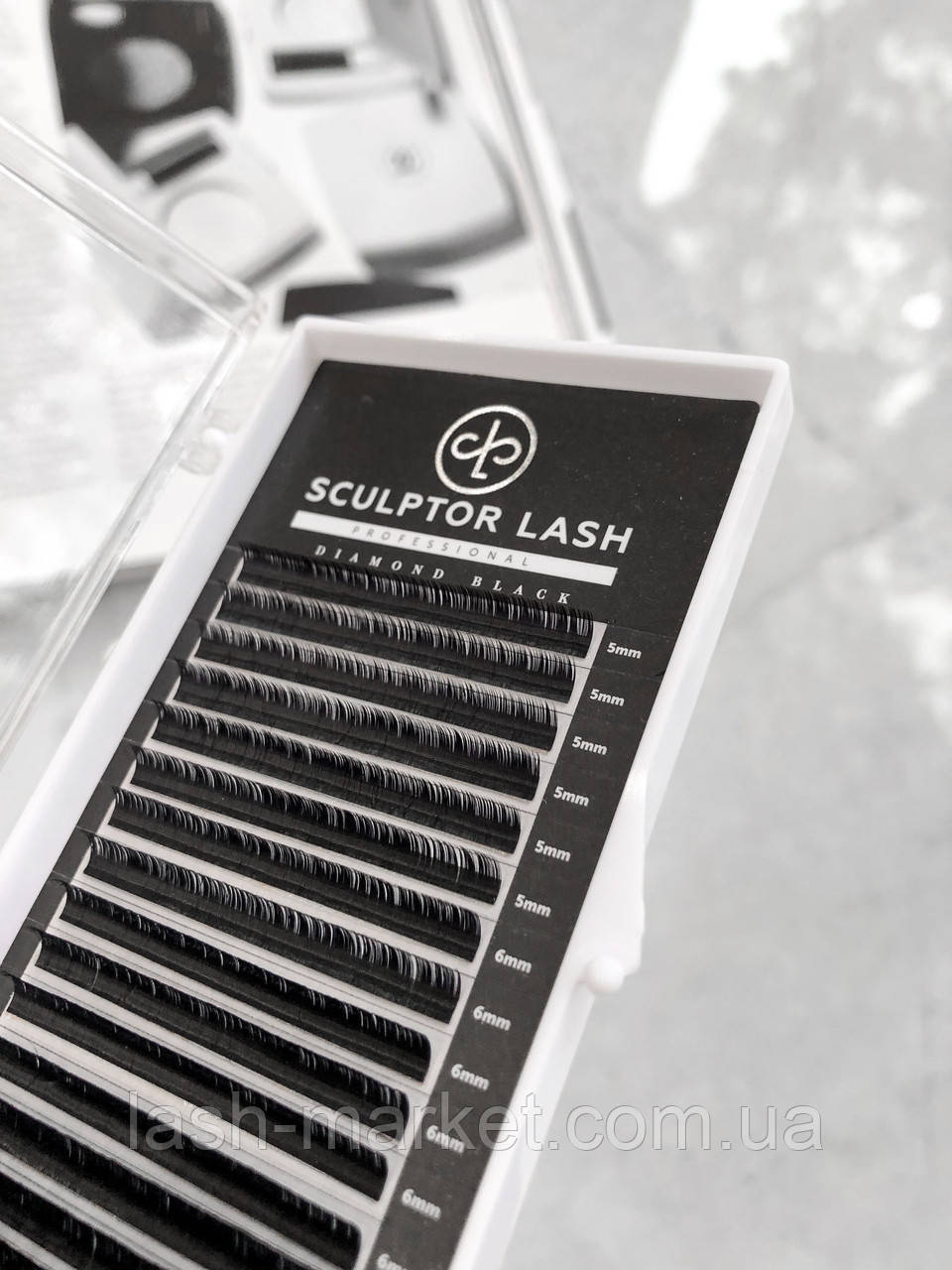Вії ОТД ДОВЖИНА З 0.07 - 12 мм Sculptor Lash Diamond Black чорні(для нарощування вій)