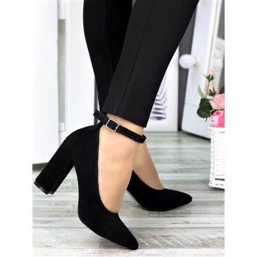 Класичні туфлі з ремінцем чорна натуральна замша