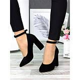Класичні туфлі з ремінцем чорна натуральна замша, фото 3