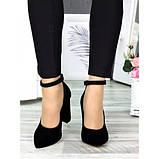 Класичні туфлі з ремінцем чорна натуральна замша, фото 2