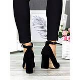 Класичні туфлі з ремінцем чорна натуральна замша, фото 4